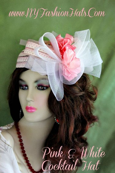 Ladies Pink White Great Gatsby Designer Cocktail Hat With Pink Flowers