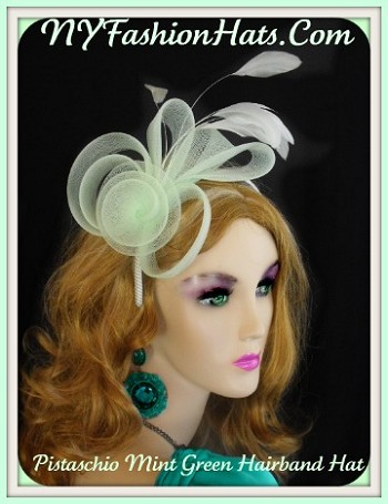 Mint Pistachio Green Coral Hairband Wedding Fascinator Cocktail Hat