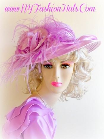 Lavender Purple Designer Wedding Hat For Women Kentucky Derby Hats