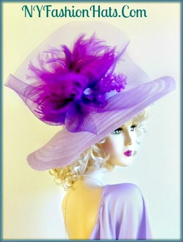 Purple Lavender Wide Brim Church Dressy Hat Ladies Formal Hats 8LQC