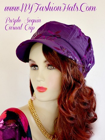 Ladies Purple Black Casual Sequin Newsboy Baseball Cap Hat Beret Caps
