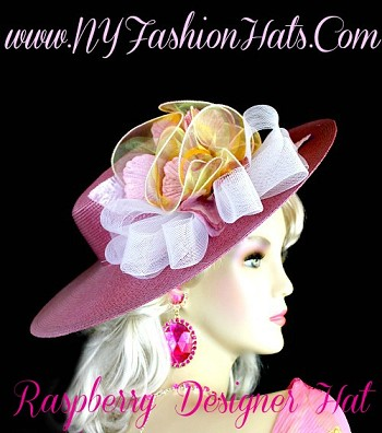 Raspberry Pink Designer Dress Hat With A White Yellow Celery Bow