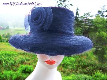 Navy Blue Kentucky Derby Special Occasion Hat Ladies Designer Hats