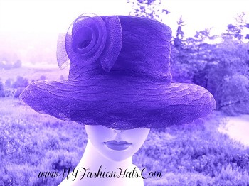 Purple Special Occasion Women's Designer Church Hat Fashion Hats 4761