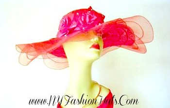 Women's Red Dress Hat With Roses And Rhinestones Fashion Hats 3QA