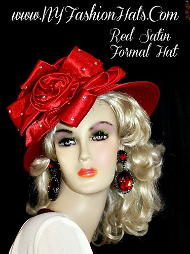 Women's Red Formal Satin Fashion Church Hat Designer Holiday Hats