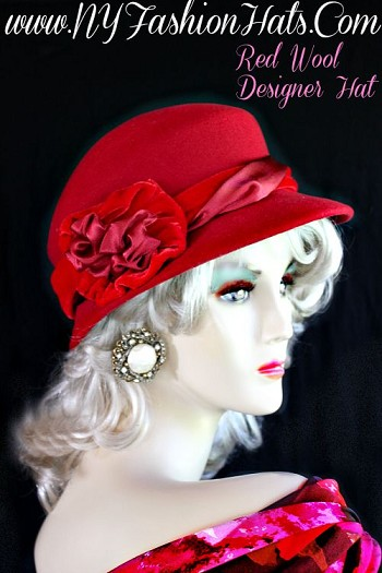 Red Black Winter Wool Satin Velvet Hat Women's Designer Hats R921