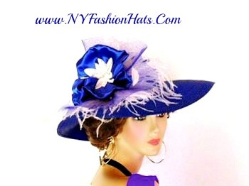 Royal Blue White Wide Brim Dressy Church Wedding Hat For Women 3VCK
