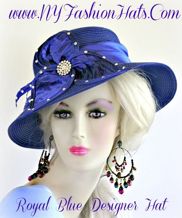 Ladies Royal Blue Dressy Satin Hat Red Black Ivory Brown Fashion Hats