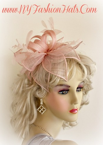 Mauve Salmon Pink Satin Hairband Women's Cocktail Straw Wedding Fascinator Hat