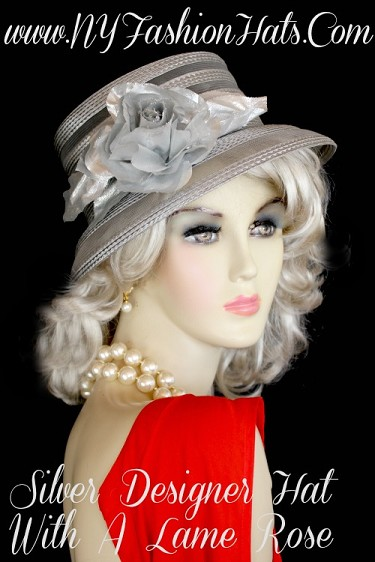 Ladies Grey Church Hat For Formals Weddings Dress, NY Fashion Hats