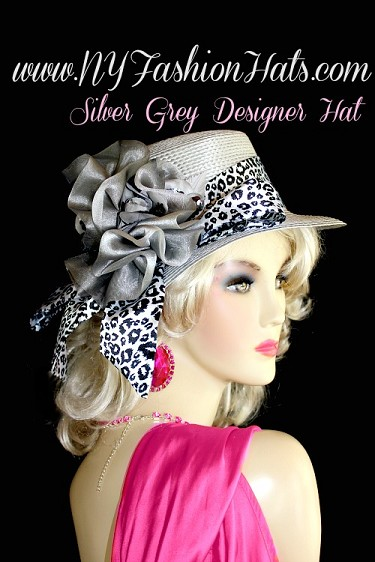 Silver Grey Casual Or Dress Designer Hat With A Black And White Sash