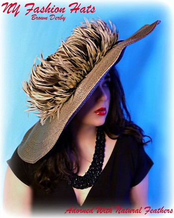 Taupe Brown Wide Brim Dress Hat With Tan Beige Ivory Black Feathers