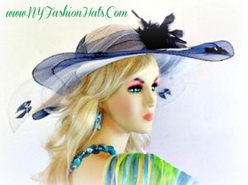 White And Navy Blue Fashion Designer Hat Dressy Ladies Hats 8GRZ