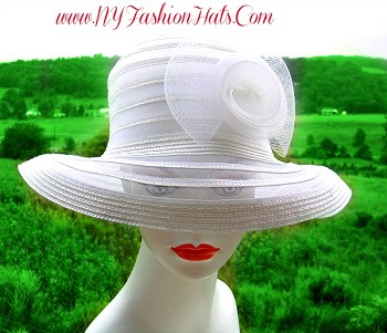 White Wedding Bridal Brides Formal Hat Ladies Fashion Hats  GR4