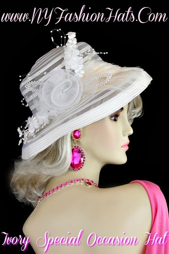 Ladies White Designer Hat With Pearls Silk Flowers, NY Fashion Hats