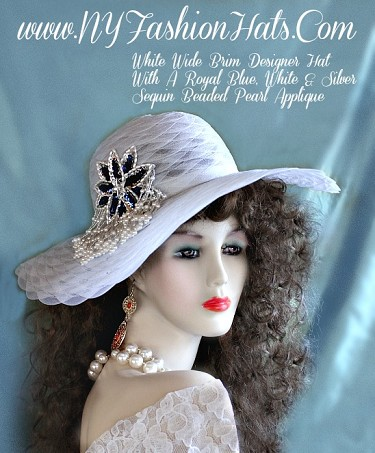Kentucky Derby Hats White Royal Blue Silver Sequin Bead Pearls Hat