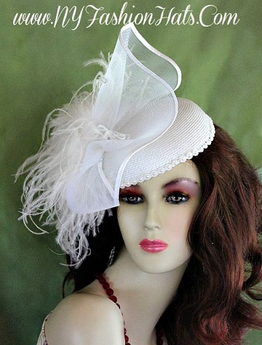 Ladies White Designer Cocktail Hat Wedding Fascinator Headpiece Hats