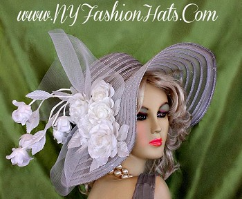 Ladies White And Metallic Silver Or Gold Designer Hat With Roses Hats