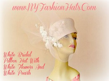 White Bridal Wedding Brides Hat With Flowers Ladies Women Hats 4GSJ