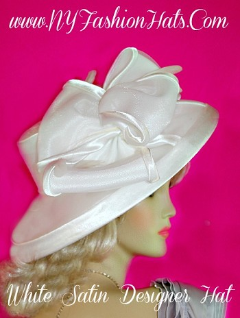 White Designer Satin Church Bridal Ladies Hat Winter Spring Fall Hats