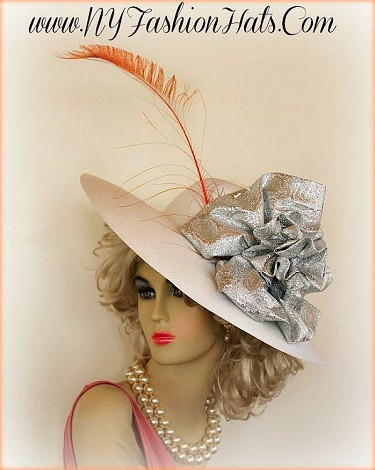 Ladies White Wide Brim Designer Hat Silver Bow Orange Peacock Feather