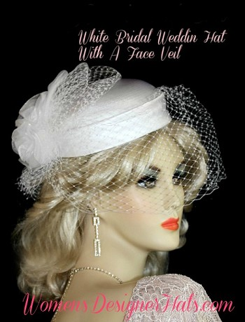 White Satin Wedding Hat With A Veil Bridal Brides Cocktail Hats Pillbox