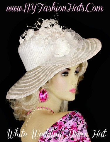 White Pink Gold Ivory Black Brown Kentucky Derby Hat NY Fashion Hats
