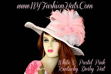 White Wide Brim Kentucky Derby Hat Pink Feathers NY Fashion Hats