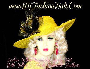 Ladies Yellow Black Designer Kentucky Derby Hat Polka Dot Feathers