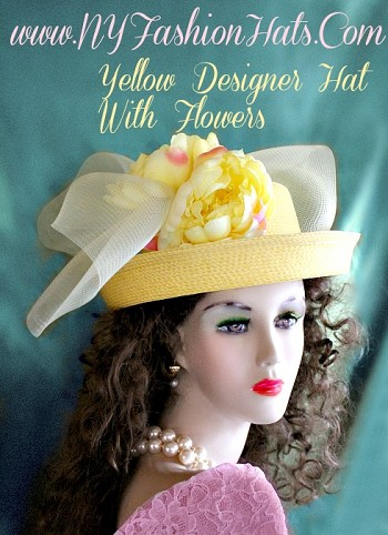 Ladies Yellow Designer Church Hat With Silk Flowers NY Fashion Hats