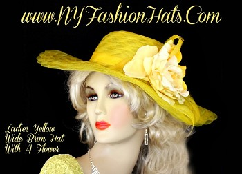 Women's Yellow Designer Custom Hat With A Rose NY Fashion Hats YR45