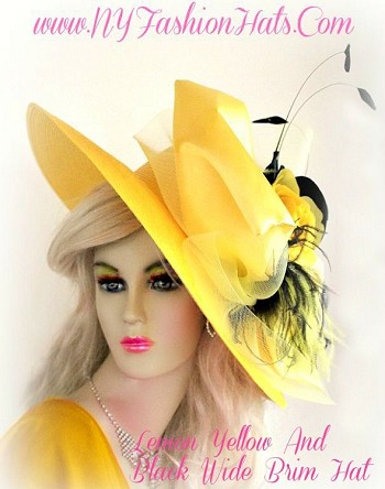 Ladies Lemon Yellow Black Wide Brim Hat With Roses Designer Hats TG9
