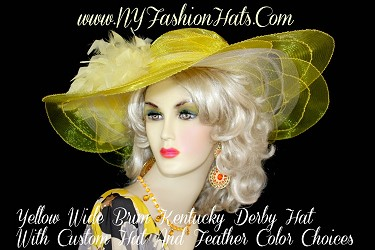 Yellow Wide Brim Kentucky Derby Hat With Feathers, Designer Hats