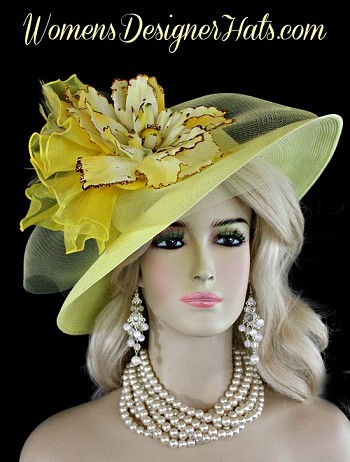 Ladies Yellow Gold Kentucky Derby Hat, Church Wedding Horse Race Hats