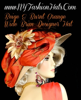 Ladies Beige Burnt Orange Designer Kentucky Derby Hat NY Fashion Hats