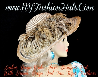 Beige Tan Brown Ivory Designer Kentucky Derby Hat U90 NY Fashion Hats