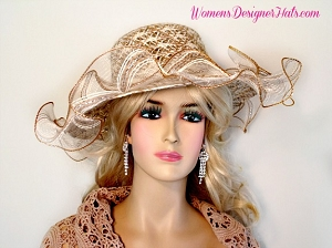 Ladies Coffee Brown Cream Ivory Fashion Wedding Hat Couture Dress Hats P20