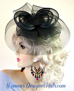 Black Vintage Style Cocktail Hat Weddings Fascinator Headpiece Womans
