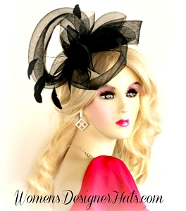 Black Vintage Style Cocktail Hat Black Satin Headband Fascinator