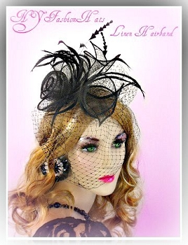 Ladies Black Straw Hairband Cocktail Hat Wedding Fascinator Hats XN8