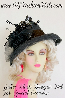Black Designer Special Occasion Women's Hat For Winter Or Spring, Hats