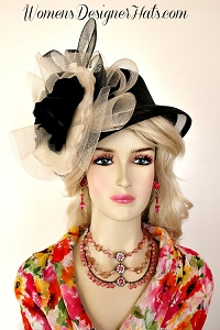 Ladies Black Ivory Special Occasion Wedding Hat, Women's Designer Hats