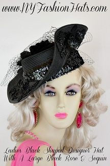 Women's Black Custom Made Designer Church Formal Hat, NY Fashion Hats