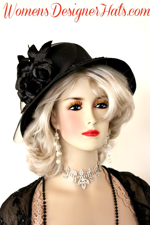 95dd81051ce5a Ladies Elegant Black Dress Hat With Black Silk Millinery Roses And A Black  Sequin Applique On The Brim. This Formal Black Fashion Hat Is Suited For  The ...