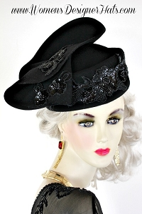 Black Wool Designer Custom Made Winter Hat Haute Couture Women's Hats