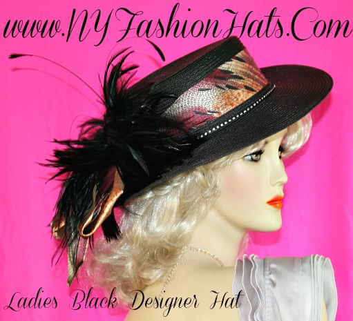 6f9ff5340d047 Ladies Black Designer Special Occasion Formal Hat With Feathers NY ...