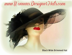 Women's Designer Black Wide Brim Church Fashion Hat Dress Hats 4991