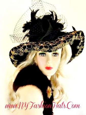 Black Metallic Gold Wide Brim Designer Dress Hat Women's Hats 3MGQ