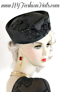 Black Designer Pillbox Fashion Hat, Ladies Special Occasion Hats